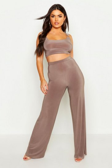 Womens Mink Slinky Ring Detail Strappy Top & Trouser Co-Ord