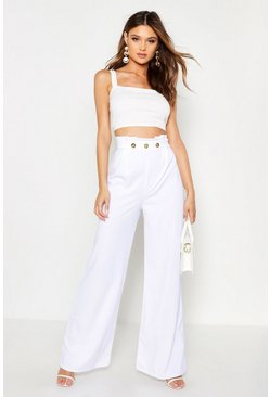 Womens White Button Front Paperbag Wide Leg Trouser