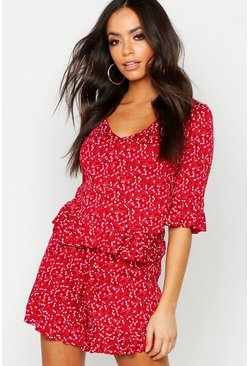 Womens Red Ditsy Floral Button Down Top & Flippy Short Co-Ord