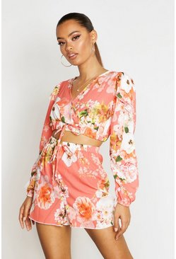 Womens Coral Tropical Floral Wrap Front Top & Short Co-Ord