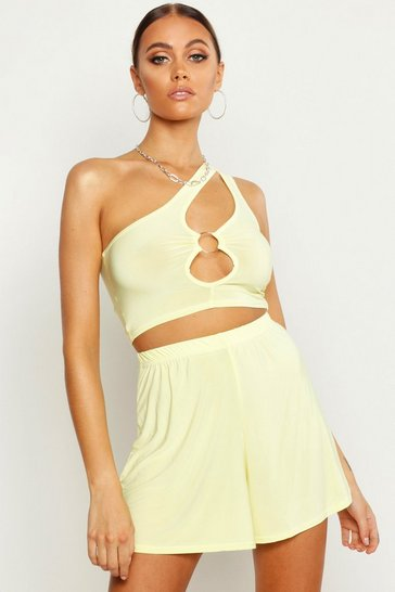 Womens Lemon Slinky Ring Detail Top & Flippy Short Co-Ord
