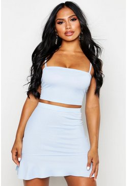 Sky Strappy Crop Top & Skater Mini Skirt Co-Ord Set