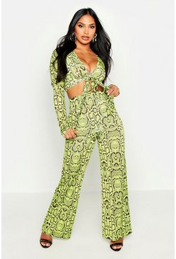 Womens Green Slinky Snake Print Knot Front Co-Ord Set