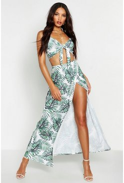 Womens White Palm Print Crop Top & Side Split Maxi Skirt Co-Ord