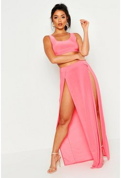 Womens Coral Strappy Slinky Bralet & Split Maxi Skirt Co-ord