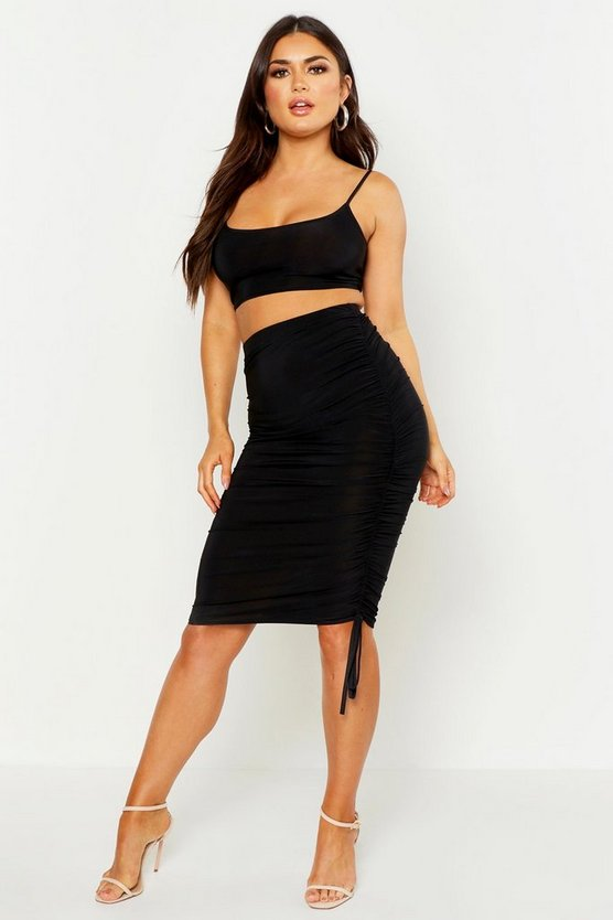 Womens Black Strappy Top & Ruched Side Midi Skirt Co-Ord