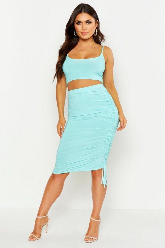 Womens Turquoise Strappy Top & Ruched Side Midi Skirt Co-Ord