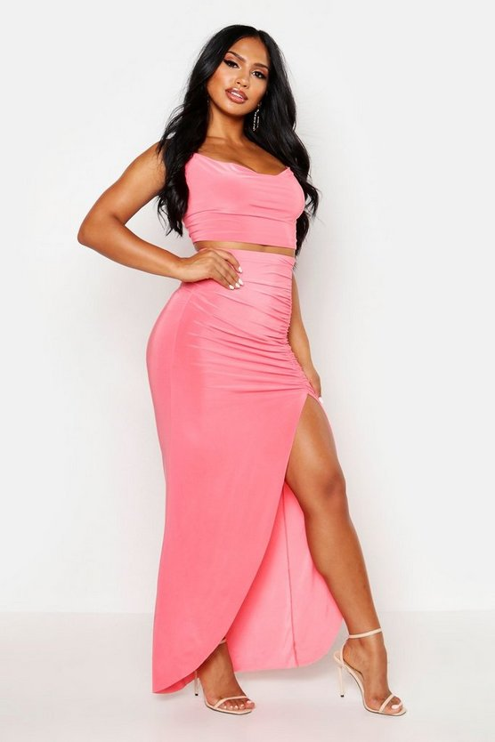 Womens Coral Slinky Cowl Neck Cami & Side Split Maxi Skirt Co-Ord