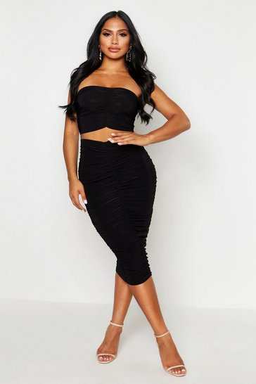 Black Slinky Ruched Bardot Top & Midi Skirt Co-Ord