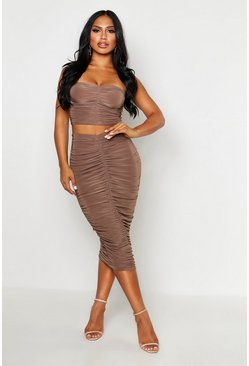 Mink Slinky Ruched Bardot Top & Midi Skirt Co-Ord
