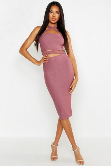 Womens Lilac Cross Over Halterneck Top & Midi Skirt Co-ord