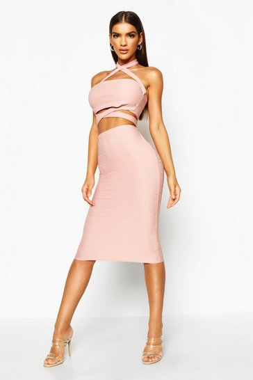 Womens Mauve Cross Over Halterneck Top & Midi Skirt Co-ord