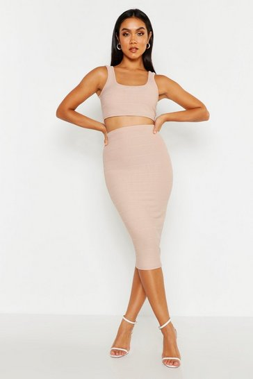 Womens Stone Strappy Top & Bandage Midi Skirt Co-ord