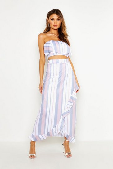 Womens Blue Stripe Off Shoulder Top & Midaxi Skirt Co-Ord