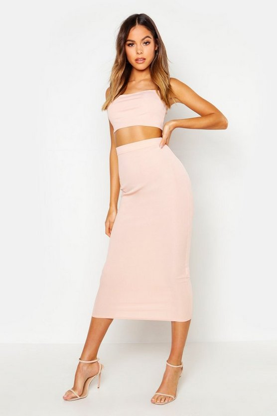 Womens Nude Bardot Top & Midaxi Skirt Co-Ord