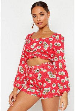 Womens Red Daisy Print Long Volume Sleeve Bralet