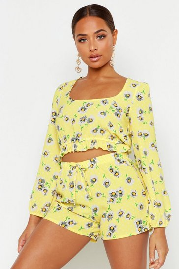 Womens Yellow Daisy Print Long Volume Sleeve Bralet