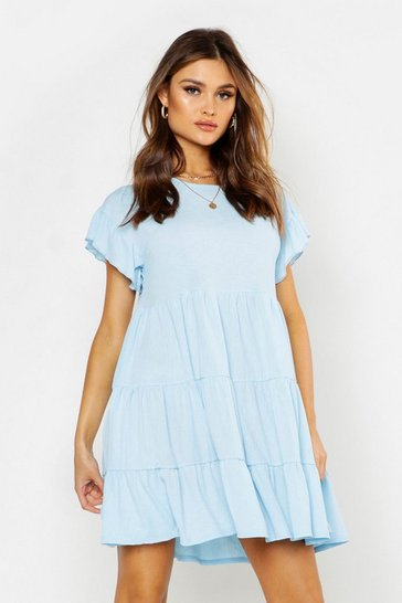 Powder blue Crinkle Frill Sleeve Tier Smock Dress