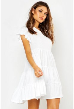 White Crinkle Frill Sleeve Tier Smock Dress