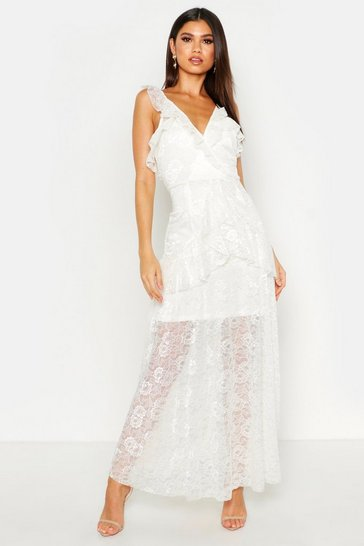 Womens Cream Lace Maxi Frill Layer Dress