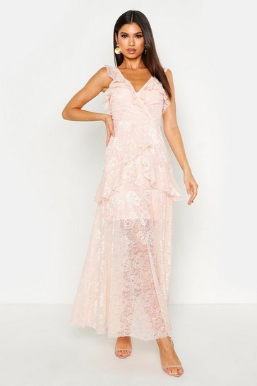 Pink Lace Maxi Frill Layer Dress