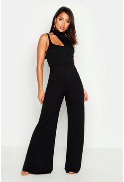 Womens Black Neck Detail Cut Out Jumpsuit