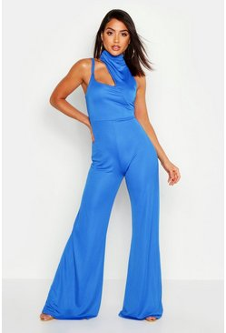 Womens Royal Neck Detail Cut Out Jumpsuit