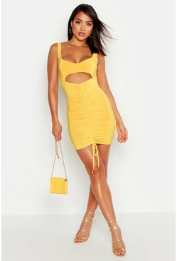 Womens Yellow Cut Out Ruched Bodycon Mini Dress
