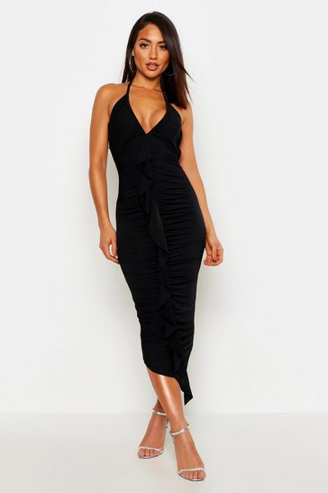 Womens Black Slinky Frill Ruched Bodycon Midi Dress