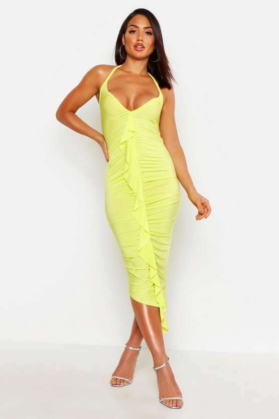 Womens Lime Slinky Frill Ruched Bodycon Midi Dress