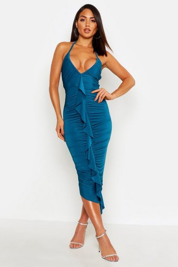 Womens Teal Slinky Frill Ruched Bodycon Midi Dress