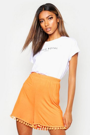 Womens Orange Pom Pom Flippy Shorts
