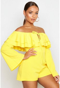 Womens Yellow Off The Shoulder Ruffle Flare Sleeve Romper