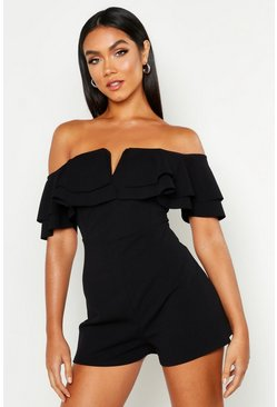 Black Off The Shoulder Frill Playsuit