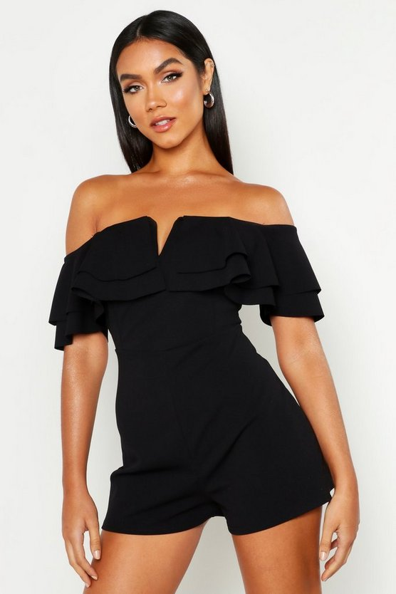Womens Black Off The Shoulder Frill Playsuit