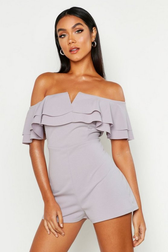 Womens Grey Off The Shoulder Frill Playsuit
