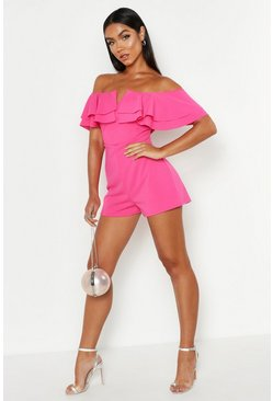 Womens Hot pink Off The Shoulder Frill Playsuit