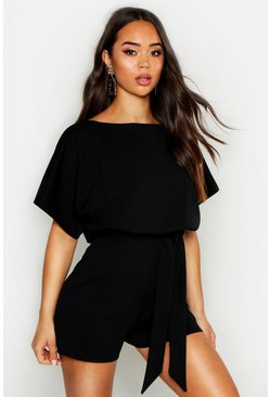Black Slash Neck Tie Waist Playsuit