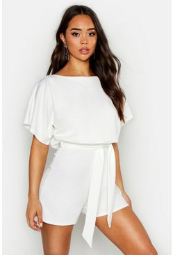 Womens Ivory Slash Neck Tie Waist Playsuit