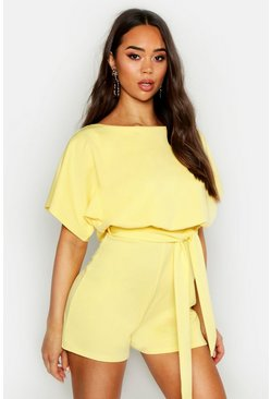 Womens Yellow Slash Neck Tie Waist Playsuit
