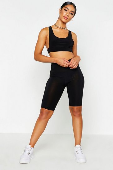 Womens Basic Black Slinky Longline Cycling Short