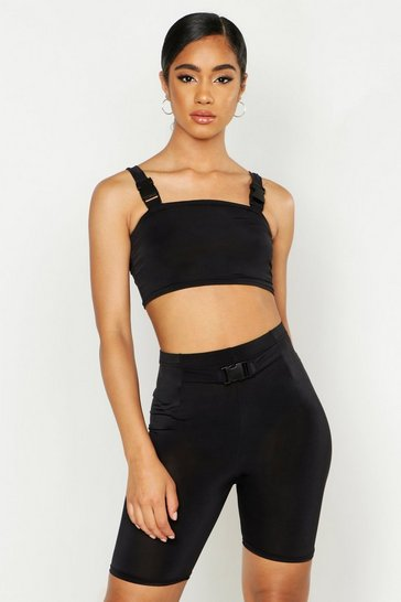 Womens Black Slinky Neon Buckle Detail Cycle Short Co-Ord