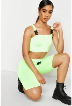 Womens Lime Slinky Neon Buckle Detail Cycle Short Co-Ord