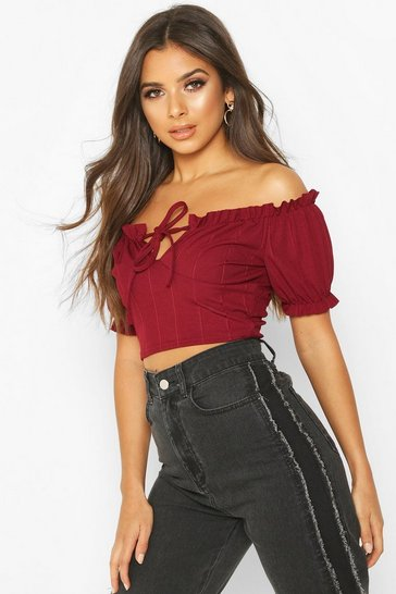 Womens Wine Bandage Peasant Crop Top