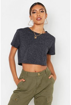 Womens Black Cotton Elastane Cropped T-Shirt