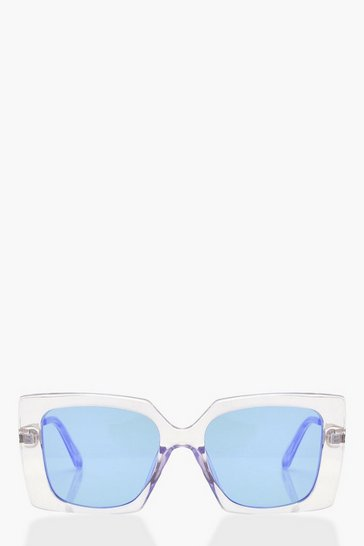 Womens Lilac Clear Coloured Oversized Fashion Glasses