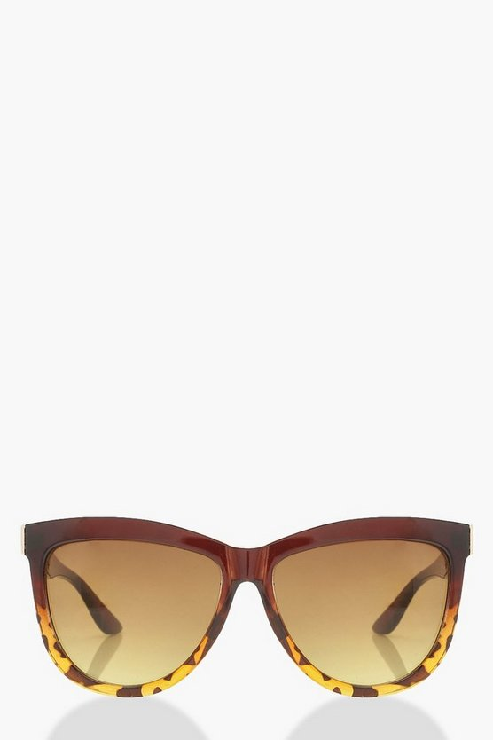 Womens Brown Faded Tort Metal Arm Oversized Sunglasses
