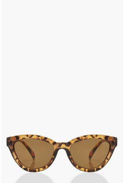 Womens Brown Tortoiseshell Chunky Oversized Sunglasses