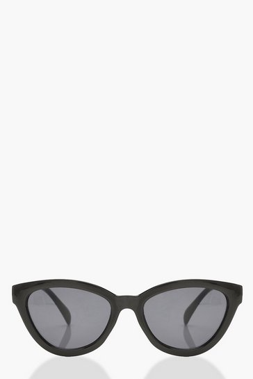 Womens Black Chunky Frame Oversized Sunglasses & Pouch