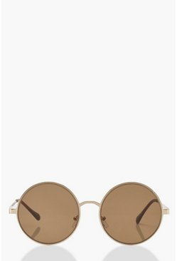 Womens Gold Oversized Flat Round Sunglasses With Pouch
